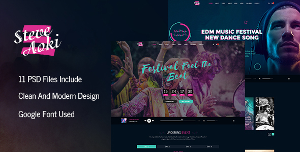 steve-aoki-WordPress-PSD-templates-for-event-planners