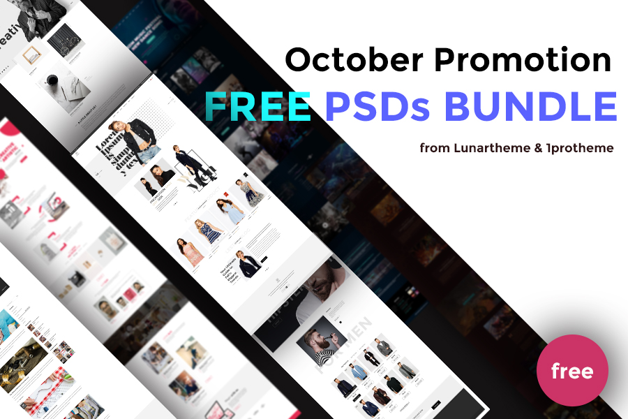 October Promotion: Free PSD Templates from Lunartheme & 1protheme